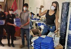 Alejandra Baigorria y George Forsyth entregan juntos mascarillas para la PNP│FOTOS