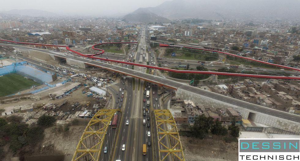 Así sería la ciclovía express en Lima. (Foto: Dessin Technisch)