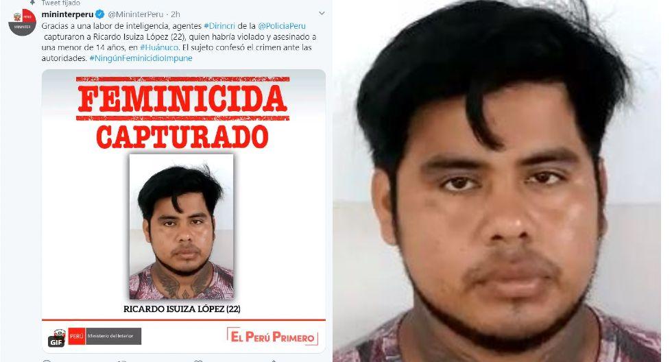 Huánuco. Ricardo Isuiza López admitió su crimen ante la Policía. (Mininter)