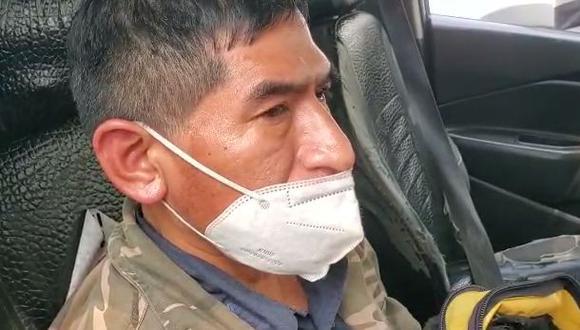Jaime Vega Palma fue liberado por la policía. Los secuestradores lo tenían a bordo de un falso taxi colectivo. (Captura video PNP)