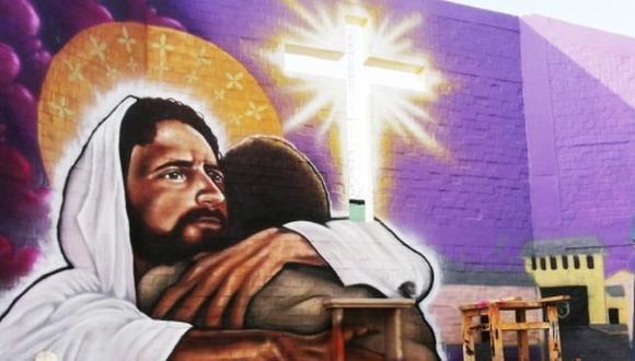 Tumbes: en la obra artística se representa a Jesucristo abrazando a un hombre privado de su libertad. (Foto: Inpe)
