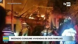 Siniestro deja dos familias damnificadas en Comas
