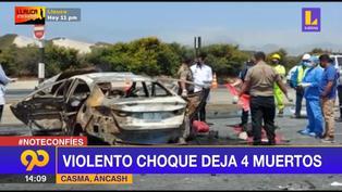 Violento choque deja 4 muertos en Áncash