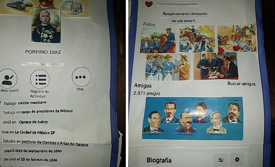 Escolar presenta biografía de personaje histórico como un perfil de Facebook (FOTOS)