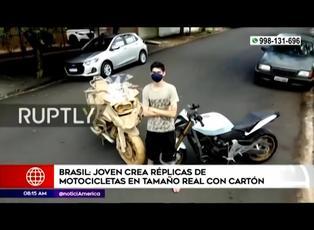 Joven brasileño crea réplicas de motocicletas de tamaño real con cartón