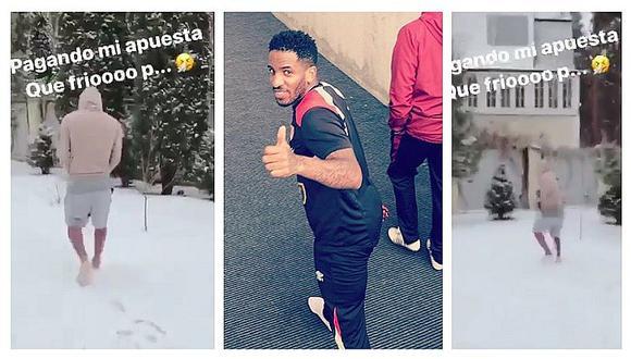 Jefferson Farfán pierde apuesta y camina en la nieve sin zapatos (VIDEO)