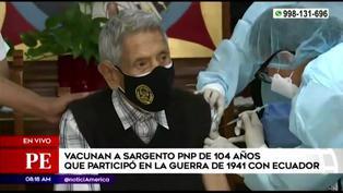 Vacuna a sargento de 104 años que participó en guerra con Ecuador en 1941