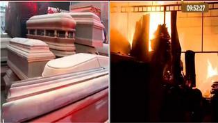 San Juan de Lurigancho: al menos 10 unidades de bomberos controlaron un incendio en fábrica de ataúdes