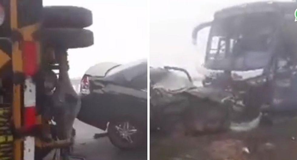 Varios heridos producto de un choque múltiple en la variante de Pasamayo (VIDEO)