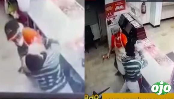 Cuando el maleante buscaba llegar a la caja registradora, un joven salió de la cocina armado con un martillo. Foto: captura Buenos Días Perú