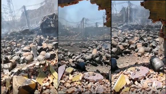 Así quedó la planta envasadora de gas Llamagas que da cuenta de la magnitud del siniestro. (Foto: Composición GEC)