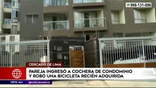 Pareja es captada robando una bicicleta en condominio del Cercado de Lima