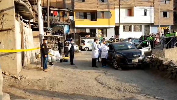 Conductor que realizaba el servicio de taxi colectivo fue atacado a tiros por dos sujetos en moto.(Foto: PNP)