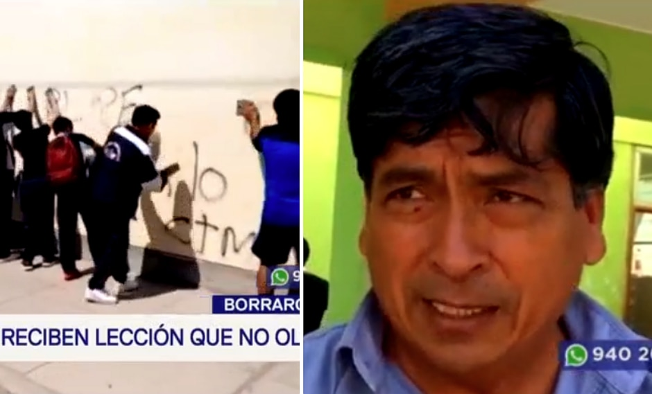 Escolares realizaron pintas en colegio rival y su director los obligó a limpiar│VIDEO
