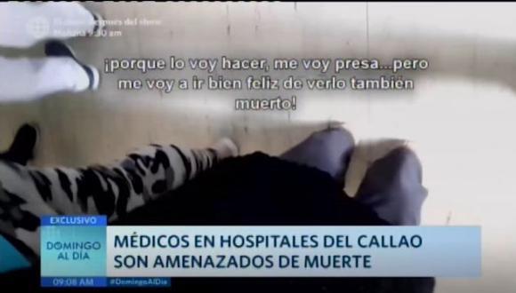 El director del Hospital Daniel Alcides Carrión, Dr. Daniel Gómez, precisó que los familiares de algunos pacientes han llegado al punto de ingresar con pistola y amenazar a los médicos cuando les dicen que su pariente o conocido ha fallecido.  (América Tv)