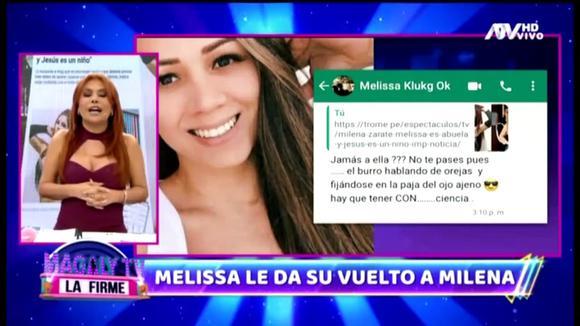 """Melissa Klug 'dispara' contra Milena por criticar su amorío con Jesús Barco: """"Hay que tener con... ciencia"""""""