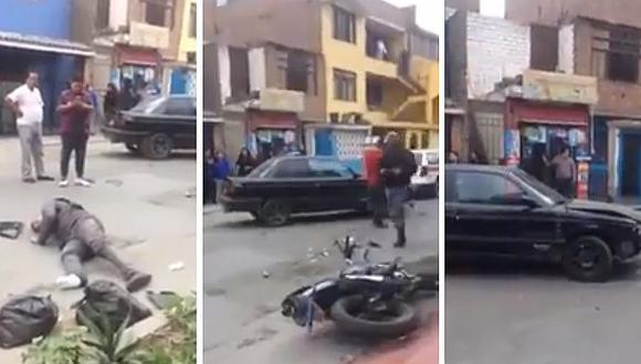Facebook: hombre sufre robo de celular y termina atropellando al ladrón (VIDEO)