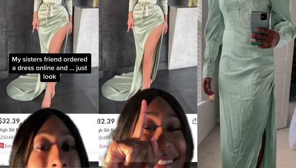 Un video viral muestra la desastrosa experiencia de una mujer al comprar un vestido por Internet que creía perfecto para ella.   Crédito: @nat.tyson / TikTok