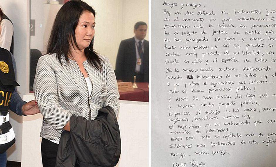 Revelan personalidad de Keiko Fujimori según la carta que escribió a mano