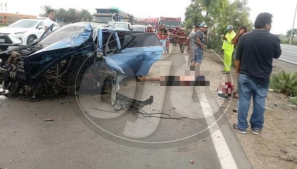 Aparatoso accidente en la Panamericana Sur deja un muerto y tres heridos (FOTOS)