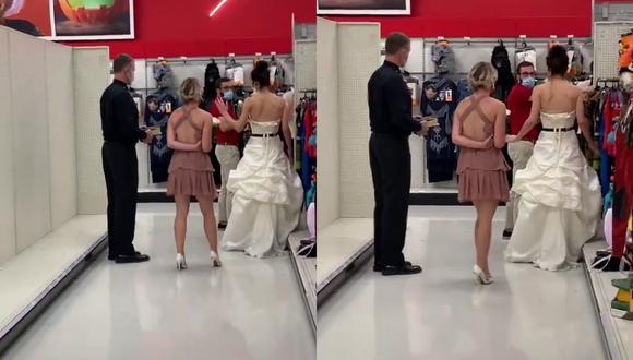 Un video viral muestra cómo una novia se metió al centro de labores de su prometido para exigirle que cumpla su palabra y casarse en ese mismo lugar.   Crédito: @boymom_ashley / TikTok.
