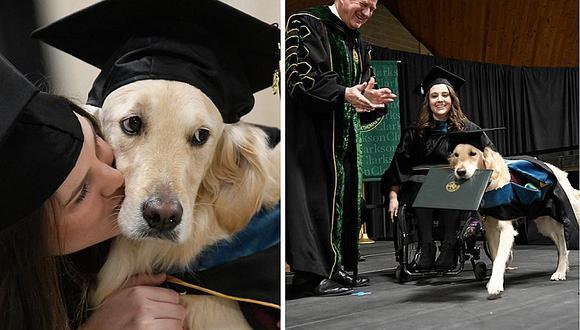 """Perrito se """"gradúa"""" por ir todos los días a la universidad con estudiante discapacitada (FOTOS)"""