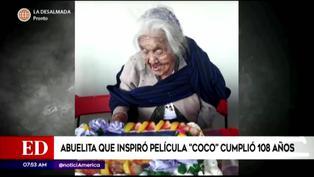 México: 'Mamá Coco' celebró sus 108 cumpleaños con un pastel de su personaje