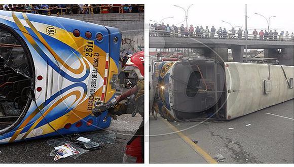 Cercado de Lima: 13 heridos deja volcadura de bus de transporte público (FOTOS Y VIDEO)