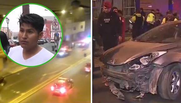 Delincuentes roban y chocan auto de taxista en Cercado de Lima