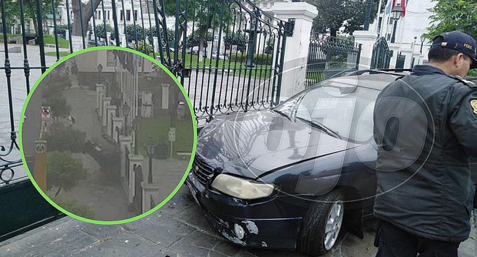 Preciso momento del choque de un auto contra la puerta del Congreso (VIDEO)
