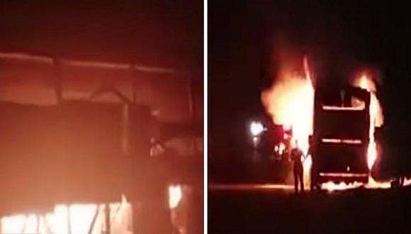 Otro bus interprovincial se incendia en plena Panamericana Sur en Ica (VIDEO)