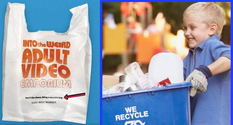 Tienda enseña a reciclar plástico con bolsas con textos escandalosos
