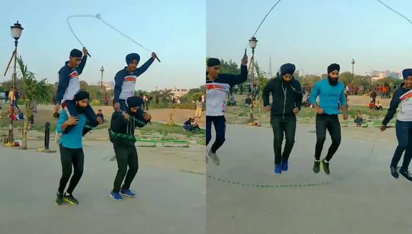 Un video viral muestra la insólita acrobacia de cuatro amigos mientras saltaban la cuerda. | Crédito: zorawarsingh99 / Instagram.