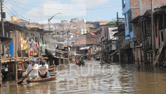 Inundación afecta varios poblados de Iquitos