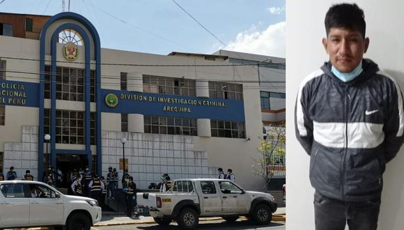 Arequipa: El obrero Yordi Fernández Argama (28)  asesinó a si vecinos tras golpearlo en la cabeza varias veces con un ladrillo y un casco de motociclista tras pelear mientras bebían licor. (Foto PNP)