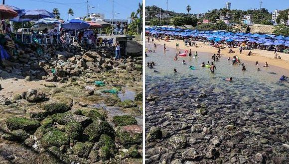 Playa de Acapulco retrocede 20 metros y deja impactantes imágenes (FOTOS)