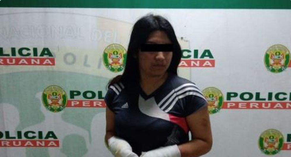 Nicole Villanueva acusada de rociar con gasolina y prenderle fuego a su pareja identificado como Brayan Morán Jesús. (Foto: PNP)