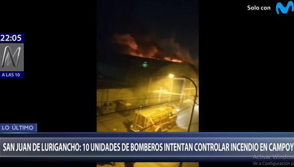 El incendio destruyó un almacén de productos químicos en Campoy. (Foto: Canal N)