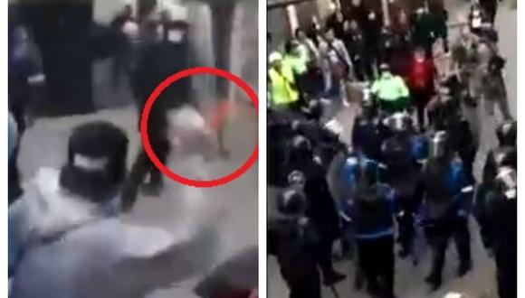 Fiscalizadores intentaban desalojar a los comerciantes ambulantes que se habían apoderado de la cuadra 5 del jirón Puno. (Captura: América Noticias)