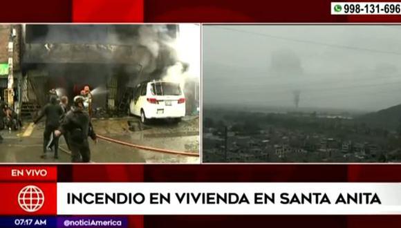 Incendio se registra en incendio de varios pisos en Santa Anita. (Captura: América Noticias)