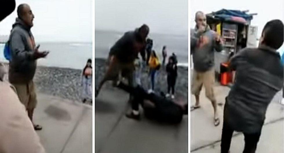 Violento sujeto agarró a golpes a un vendedor de golosinas en Miraflores | VIDEO