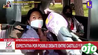 Keiko Fujimori rumbo a exteriores del penal de Santa Mónica para debatir con Pedro Castillo | VIDEO