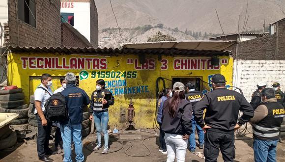 En este local que tenía como fachada una llantería, agentes de la Dirección de Trata de Personas rescataron a cinco menores que eran sometidos a trabajos forzosos. (Foto: GEC)