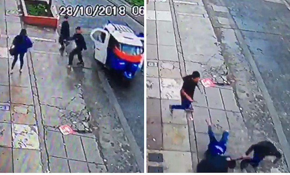 Cámaras captan feroz atraco a una policía en la puerta de su casa en SMP (VIDEO)