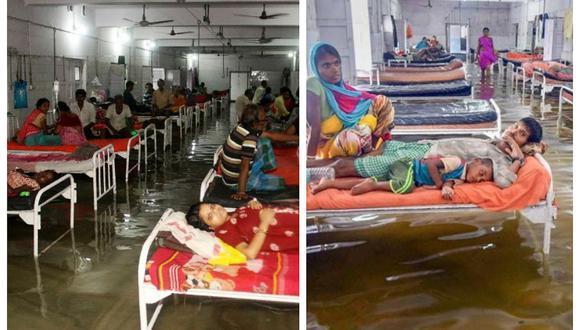 Peces llegan a pasillos de hospital a consecuencia de inundaciones