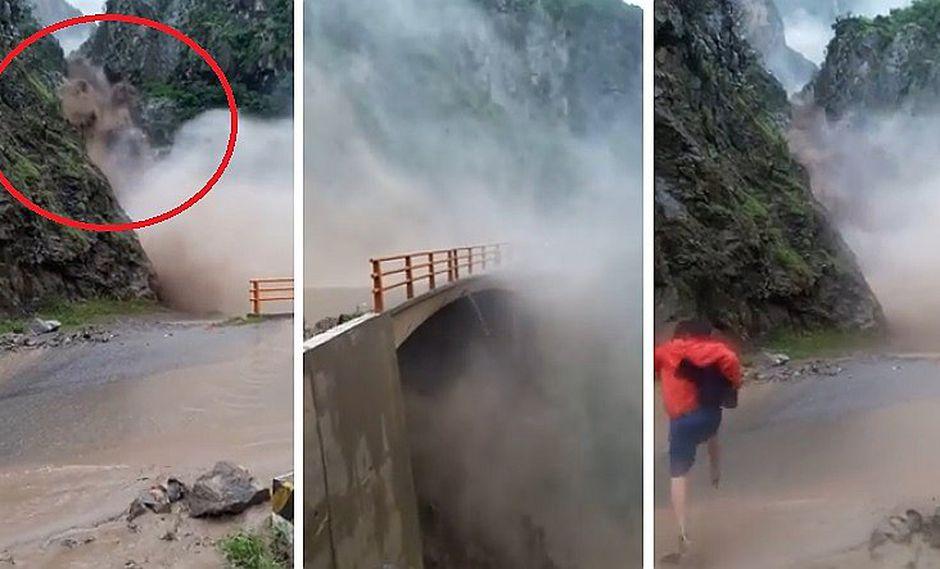 Facebook: captan instante en que huaicazo cae en carretera a Otuzco (VIDEO)