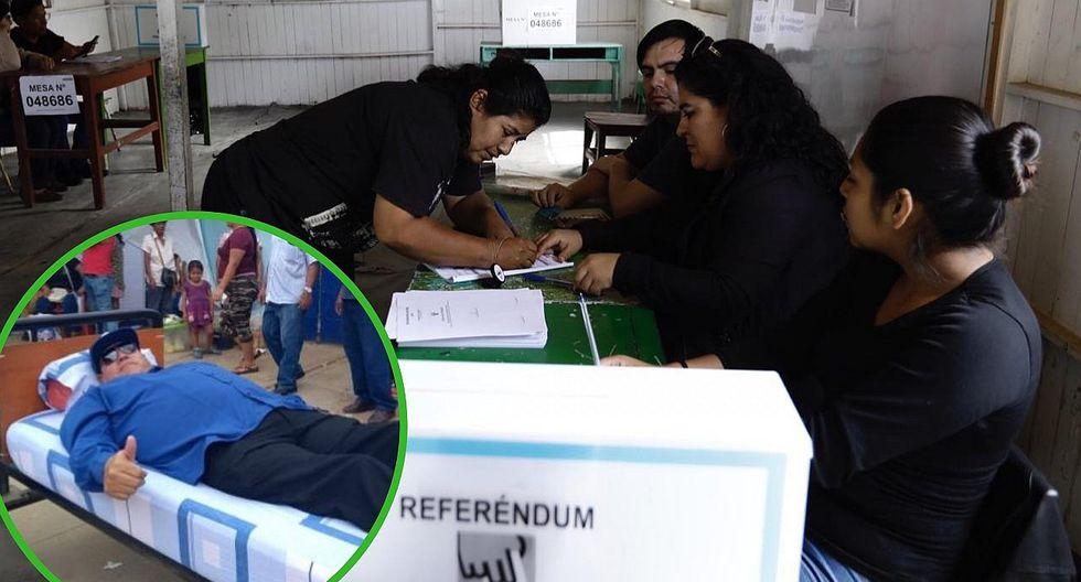 """Hombre no puede caminar pero va a votar en su """"cama rodante"""" en San Martín (FOTO)"""