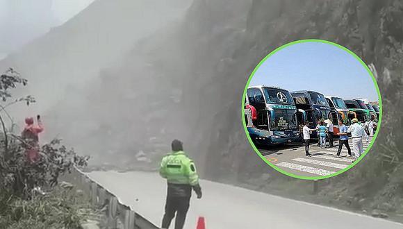 Derrumbe bloquea carretera Tarma-Chanchamayo (VIDEO)