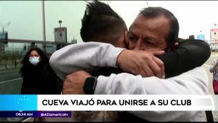 El emotivo abrazo de Cueva y su padre previo a su viaje a Arabia Saudí