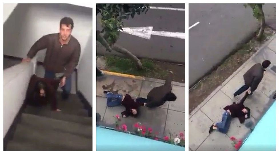 Sujeto arrastra por las calles a su pareja y todo queda ¡registrado en video!
